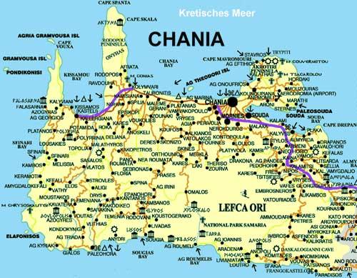 Carte de le Canée Chania Crète